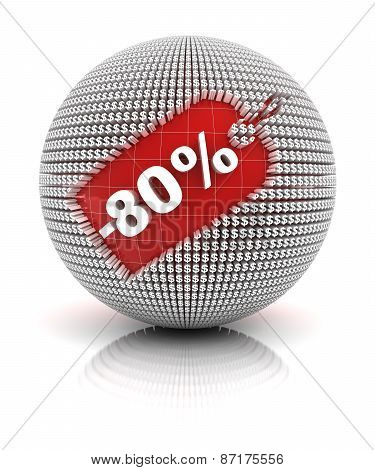 80 percent off sale tag on a sphere