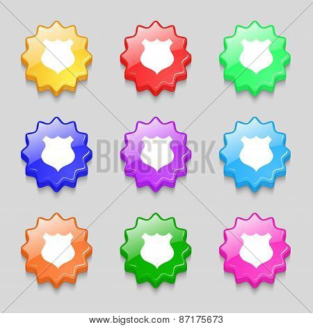Shield Icon Sign. Symbol On Nine Wavy Colourful Buttons. Vector