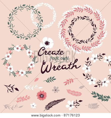 Flower wreath & set of flower elements, you can create your own wreath