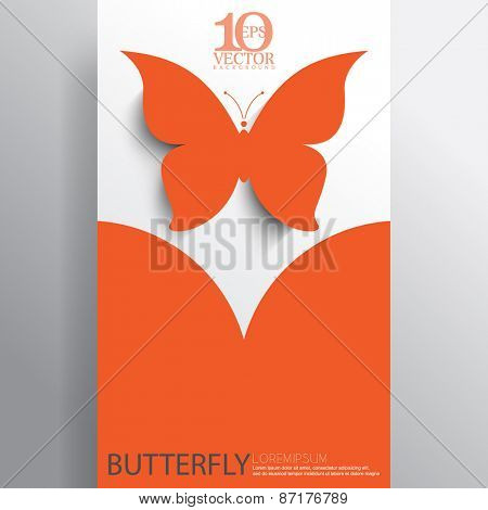 eps10 vector orange silhouette butterfly business layout background