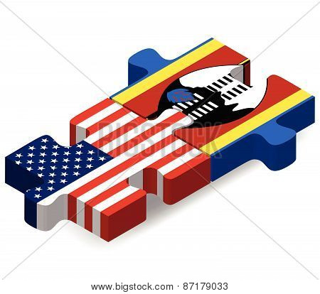 Usa And Swaziland Flags In Puzzle