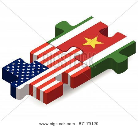Usa And Suriname Flags In Puzzle