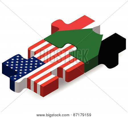 Usa And Sudan Flags In Puzzle