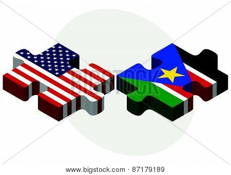 Usa And South Sudan Flags In Puzzle