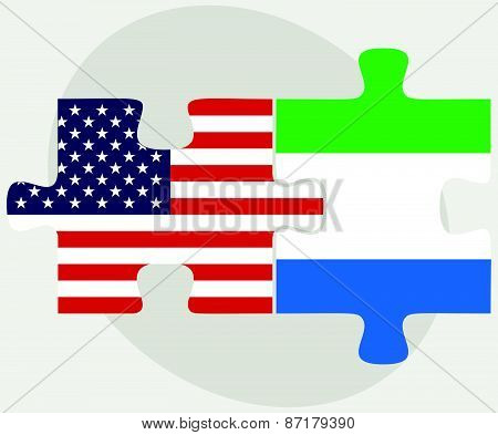 Usa And Sierra Leone Flags In Puzzle