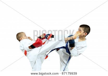 Boys in sporting overlays are training paired exercises karate