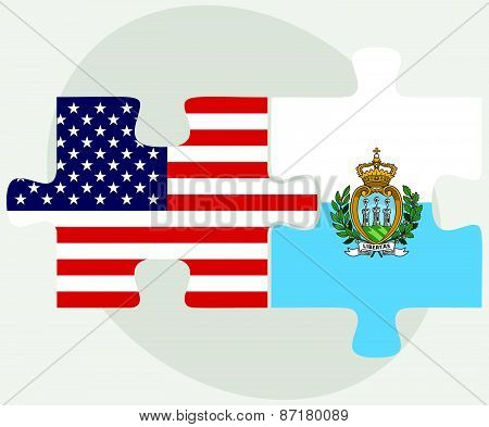Usa And San Marino Flags In Puzzle