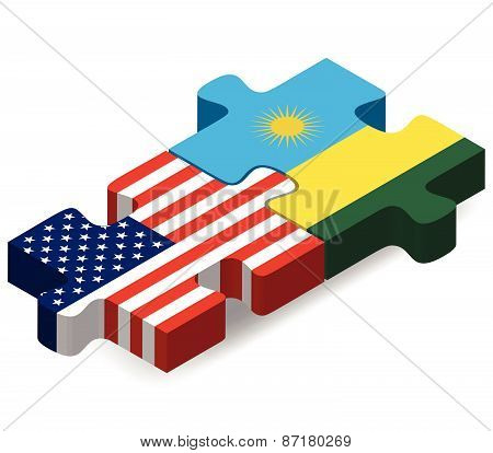 Usa And Rwanda Flags In Puzzle