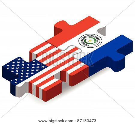 Usa And Paraguay Flags In Puzzle