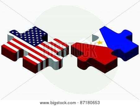Usa And Philippines Flags In Puzzle