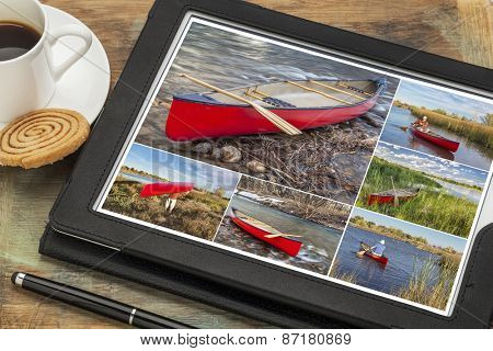 Reviewing pictures of canoe paddling featuring a senior male on a digital tablet with a cup of coffee. All screen pictures copyright by the photographer with the same model (self).