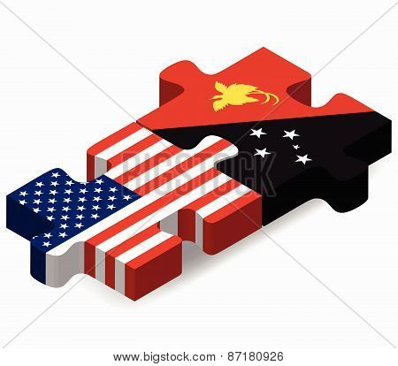 Usa And Papua New Guinea Flags In Puzzle