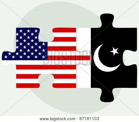 Usa And Pakistan Flags In Puzzle