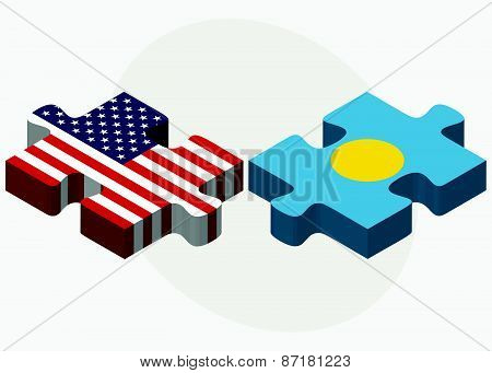 Usa And Palau Flags In Puzzle
