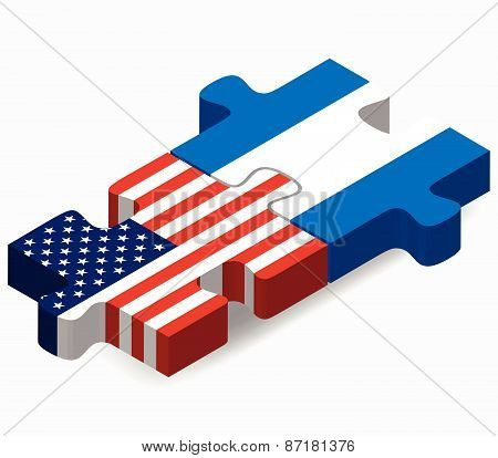 Usa And Nicaragua Flags In Puzzle