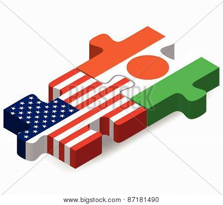 Usa And Niger Flags In Puzzle