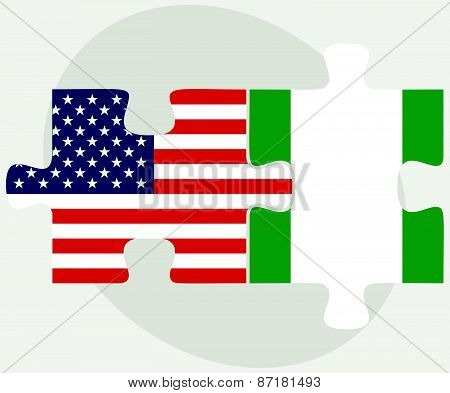 Usa And Nigeria Flags In Puzzle