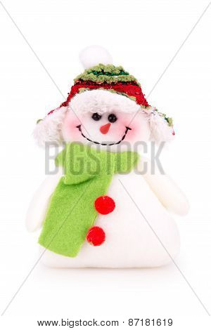 Toy Snowman In The Cap With Scarf