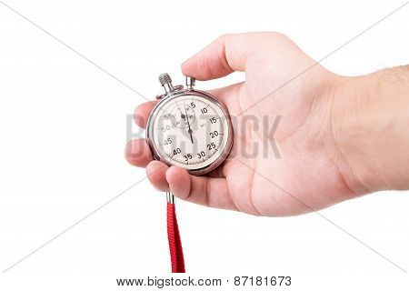 Stopwatch In Hand Closeup