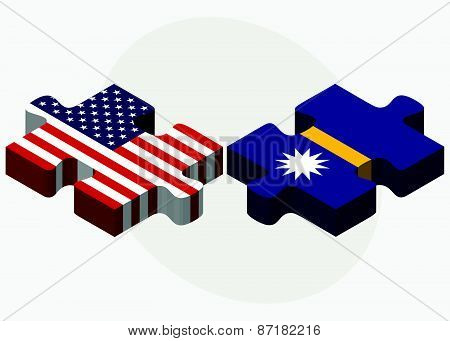 Usa And Nauru Flags In Puzzle