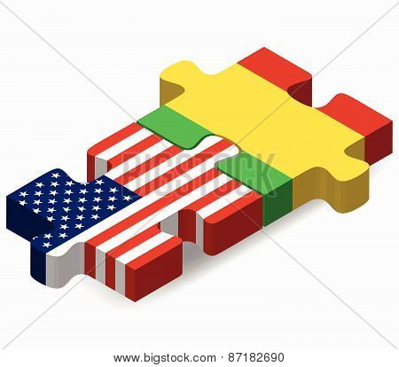 Usa And Mali Flags In Puzzle