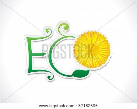 Abstract Artistic Eco Text With Flower
