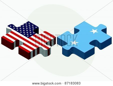 Usa And Micronesia Flags In Puzzle