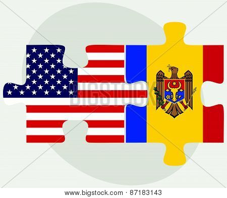 Usa And Moldova Flags In Puzzle