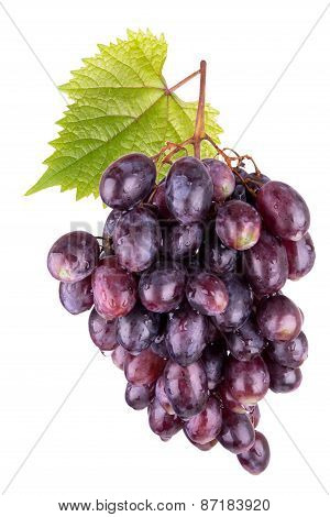 Ripe Red Grapes With Leaves