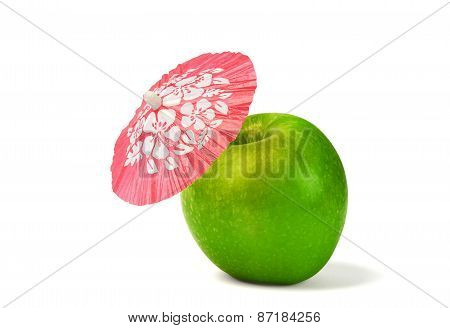 Green Apple With Drink Cocktail Umbrella