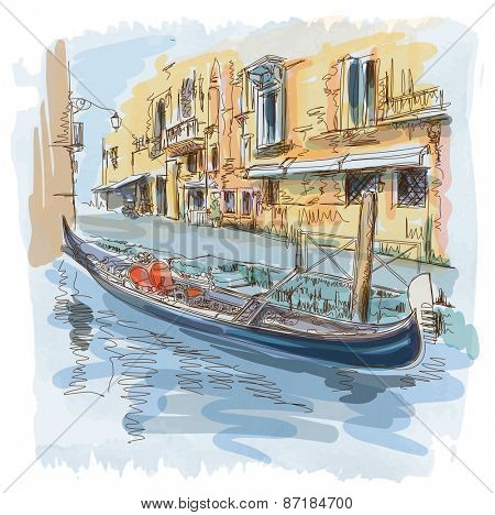 Venice - Calle Fondamenta Megio. Ancient building & gondola. Vector illustration. Eps10
