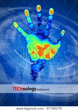 Thermal hand print, blue technology background, chemical formulas & digital wave
