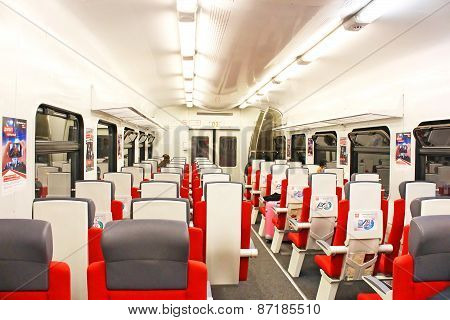 Inside Carriage Of  Express Train Aeroexpress From Moscow centre to Sheremetievo airport, Russia