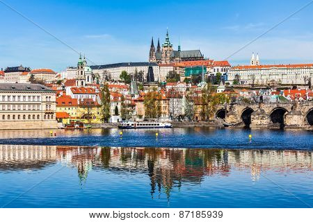 View of and Gradchany (Prague Castle) and St. Vitus Cathedral over  Vltava river