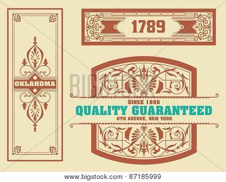 vector. Set retro wedding card