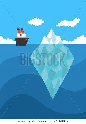 Ship near iceberg vector danger concept