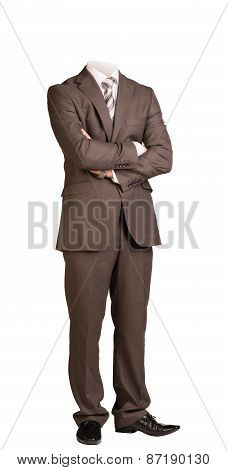 Businessman without head, standing with crossed arms. Isolated