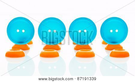 Blue And Orange Clothes Buttons