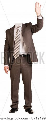 Businessman in suit without head, raised his hand up. Isolated