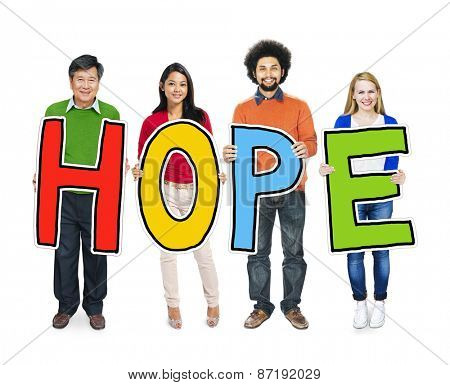 Multiethnic Group of People Holding Letter with Hope Concept