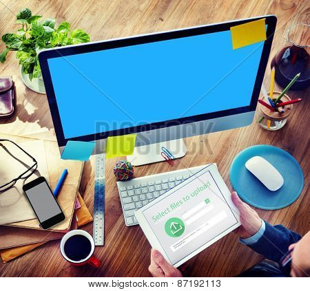 Businessman Digital Devices Web Uploading Working Concept