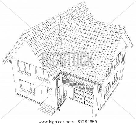 Vector sketch of the cottage.