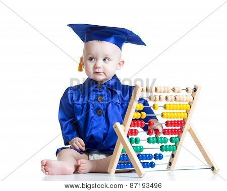 Kid boy in clothes academician with counter toy