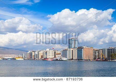 Coastal Cityscape With Modern Buildings. Izmir, Turkey