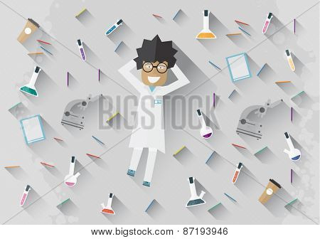 Scientist in lab lying on the floor concept making research vector illustration