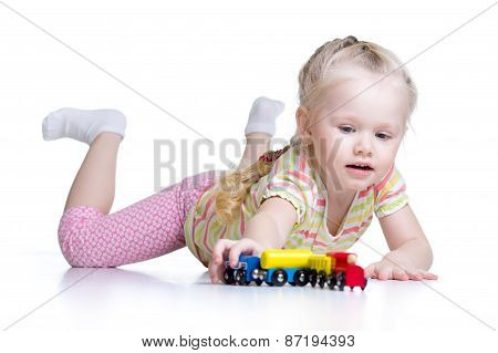 kid playing toys isolated n white background