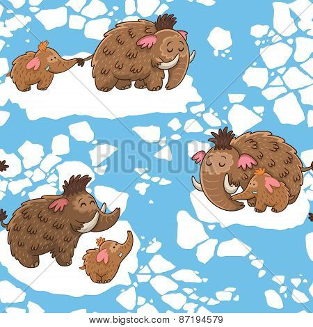 Cartoon pattern with mammoths