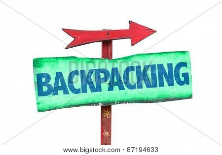 Backpacking sign isolated on white