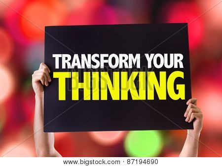 Transform Your Thinking card with bokeh background