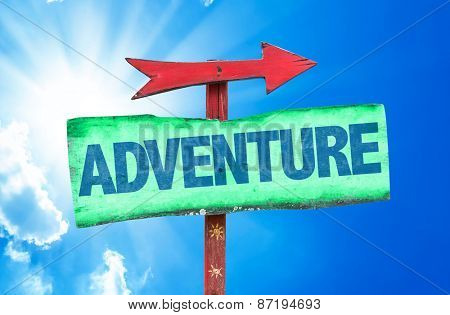 Adventure sign with sky background